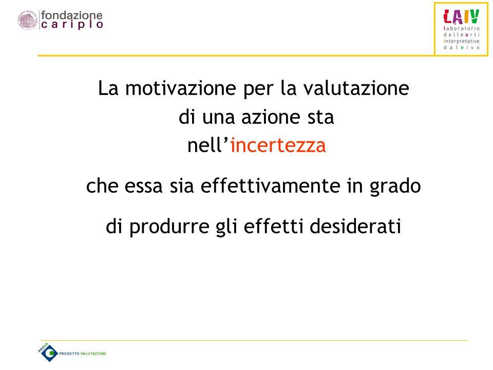 La motivazione per la valutazione di una azione sta nellincertezza che essa sia effettivamente in grado di produrre gli effetti desiderati