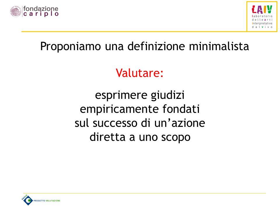 Proponiamo una definizione minimalista Valutare: esprimere giudizi empiricamente fondati sul successo di unazione diretta a uno scopo