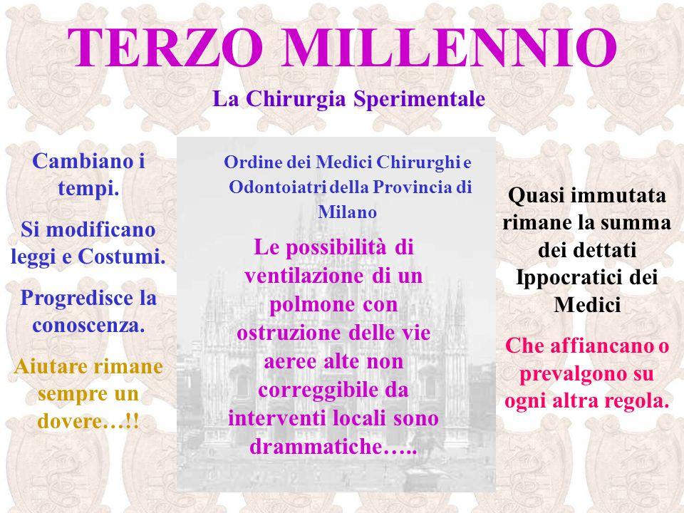 Ordine dei Medici Chirurghi e Odontoiatri della Provincia di Milano Cambiano i tempi. Si modificano leggi e Costumi. Progredisce la conoscenza. Aiutar