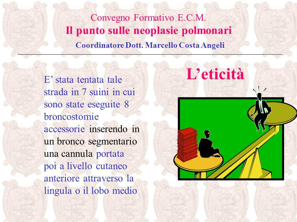 Leticità Convegno Formativo E.C.M. Il punto sulle neoplasie polmonari Coordinatore Dott. Marcello Costa Angeli E stata tentata tale strada in 7 suini