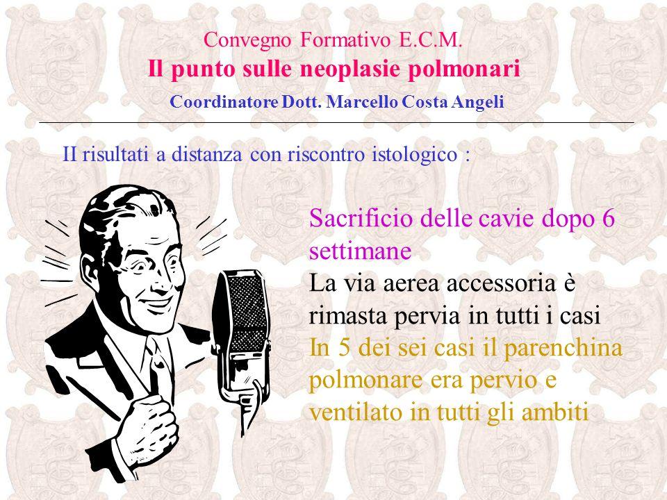 II risultati a distanza con riscontro istologico : Convegno Formativo E.C.M. Il punto sulle neoplasie polmonari Coordinatore Dott. Marcello Costa Ange