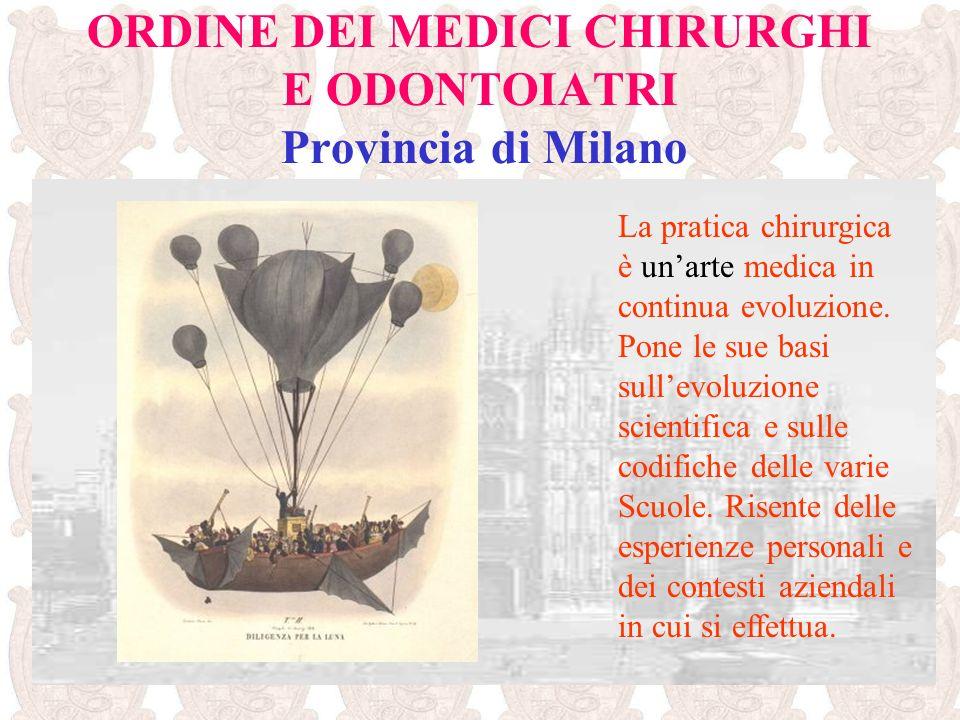 ORDINE DEI MEDICI CHIRURGHI E ODONTOIATRI Provincia di Milano La pratica chirurgica è unarte medica in continua evoluzione. Pone le sue basi sullevolu