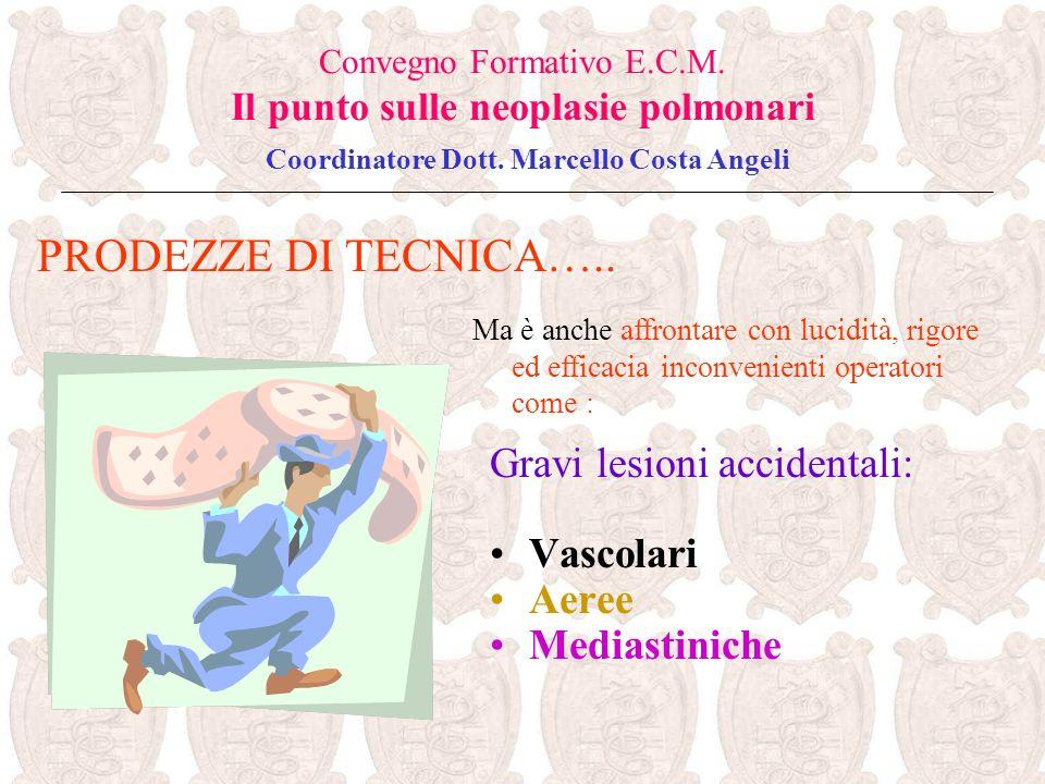 Gravi lesioni accidentali: Vascolari Aeree Mediastiniche PRODEZZE DI TECNICA….. Convegno Formativo E.C.M. Il punto sulle neoplasie polmonari Coordinat