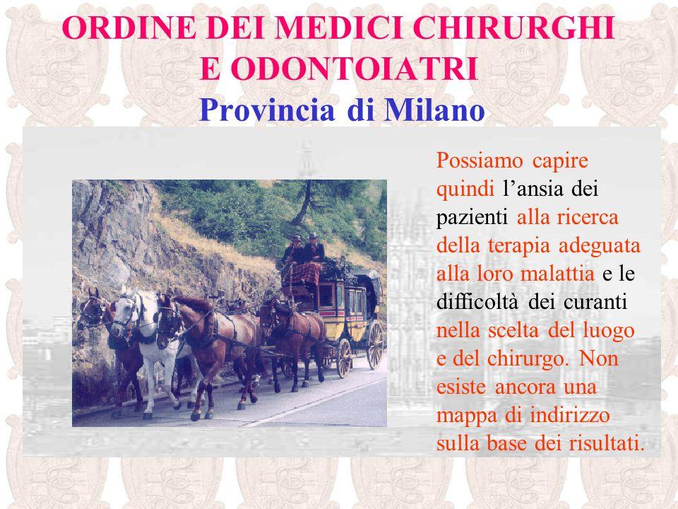 ORDINE DEI MEDICI CHIRURGHI E ODONTOIATRI Provincia di Milano Possiamo capire quindi lansia dei pazienti alla ricerca della terapia adeguata alla loro
