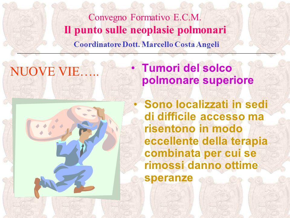 Tumori del solco polmonare superiore NUOVE VIE….. Convegno Formativo E.C.M. Il punto sulle neoplasie polmonari Coordinatore Dott. Marcello Costa Angel