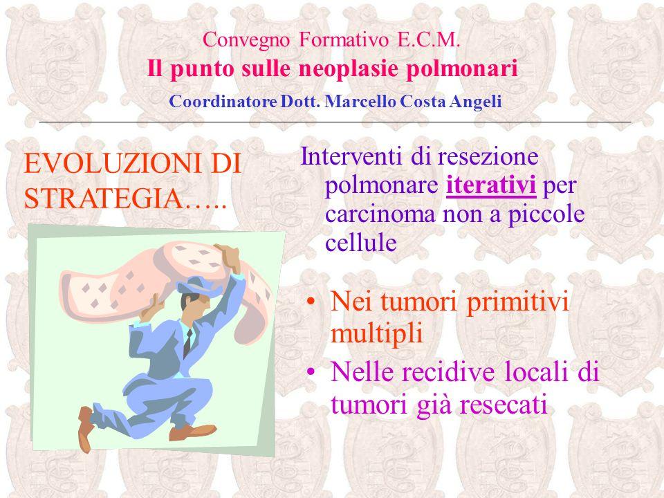 Interventi di resezione polmonare iterativi per carcinoma non a piccole cellule EVOLUZIONI DI STRATEGIA….. Convegno Formativo E.C.M. Il punto sulle ne