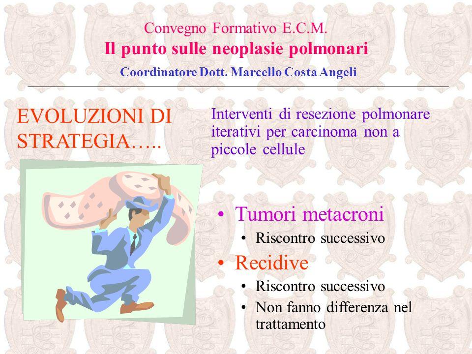 EVOLUZIONI DI STRATEGIA….. Convegno Formativo E.C.M. Il punto sulle neoplasie polmonari Coordinatore Dott. Marcello Costa Angeli Tumori metacroni Risc