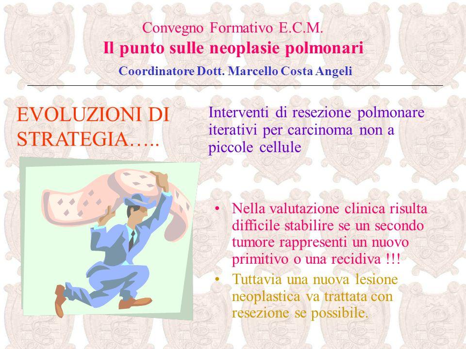 EVOLUZIONI DI STRATEGIA….. Convegno Formativo E.C.M. Il punto sulle neoplasie polmonari Coordinatore Dott. Marcello Costa Angeli Nella valutazione cli