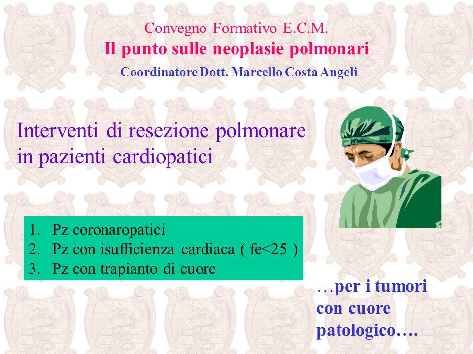 …per i tumori con cuore patologico…. Convegno Formativo E.C.M. Il punto sulle neoplasie polmonari Coordinatore Dott. Marcello Costa Angeli Interventi