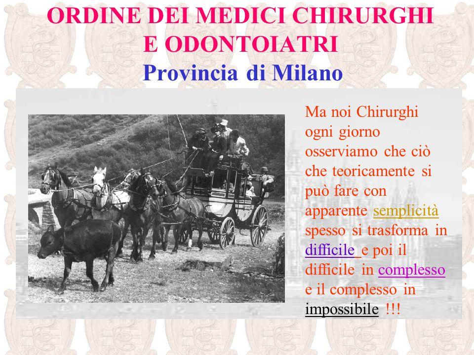 ORDINE DEI MEDICI CHIRURGHI E ODONTOIATRI Provincia di Milano I MEDICI limpegno etico per il bene del paziente spinge a fare di più che a fare di meno.