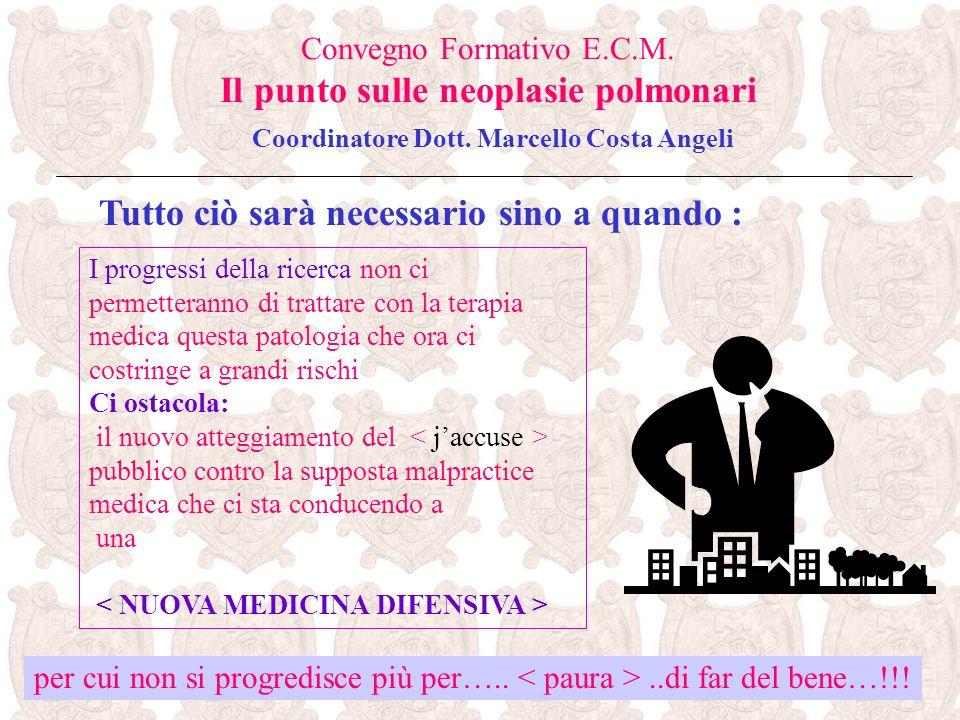 Tutto ciò sarà necessario sino a quando : Convegno Formativo E.C.M. Il punto sulle neoplasie polmonari Coordinatore Dott. Marcello Costa Angeli per cu