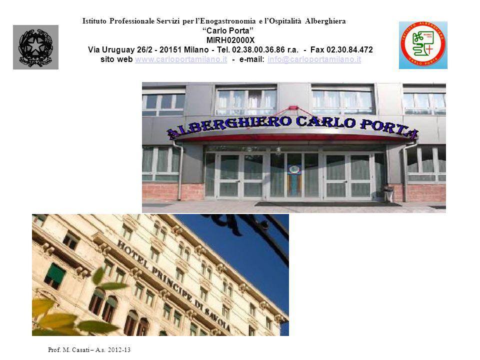 Istituto Professionale Servizi per lEnogastronomia e lOspitalità Alberghiera Carlo Porta MIRH02000X Via Uruguay 26/2 - 20151 Milano - Tel. 02.38.00.36