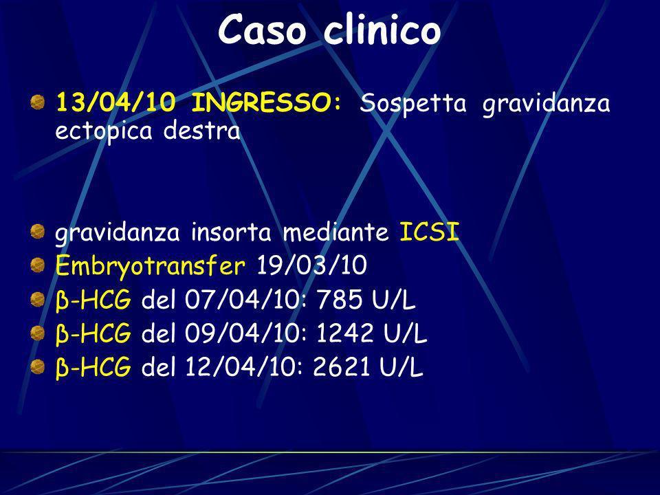 13/04/10 INGRESSO: Sospetta gravidanza ectopica destra gravidanza insorta mediante ICSI Embryotransfer 19/03/10 β-HCG del 07/04/10: 785 U/L β-HCG del