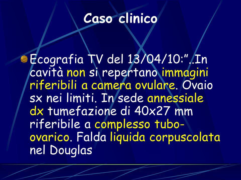 Ecografia TV del 13/04/10:..In cavità non si repertano immagini riferibili a camera ovulare. Ovaio sx nei limiti. In sede annessiale dx tumefazione di
