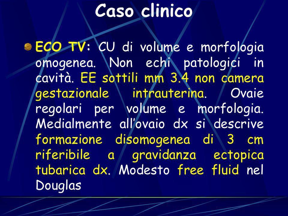 ECO TV: CU di volume e morfologia omogenea. Non echi patologici in cavità. EE sottili mm 3.4 non camera gestazionale intrauterina. Ovaie regolari per