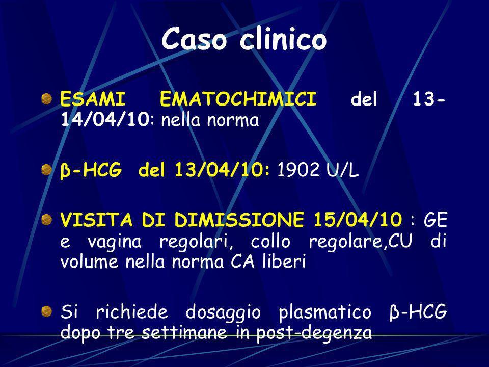 ESAMI EMATOCHIMICI del 13- 14/04/10: nella norma β-HCG del 13/04/10: 1902 U/L VISITA DI DIMISSIONE 15/04/10 : GE e vagina regolari, collo regolare,CU