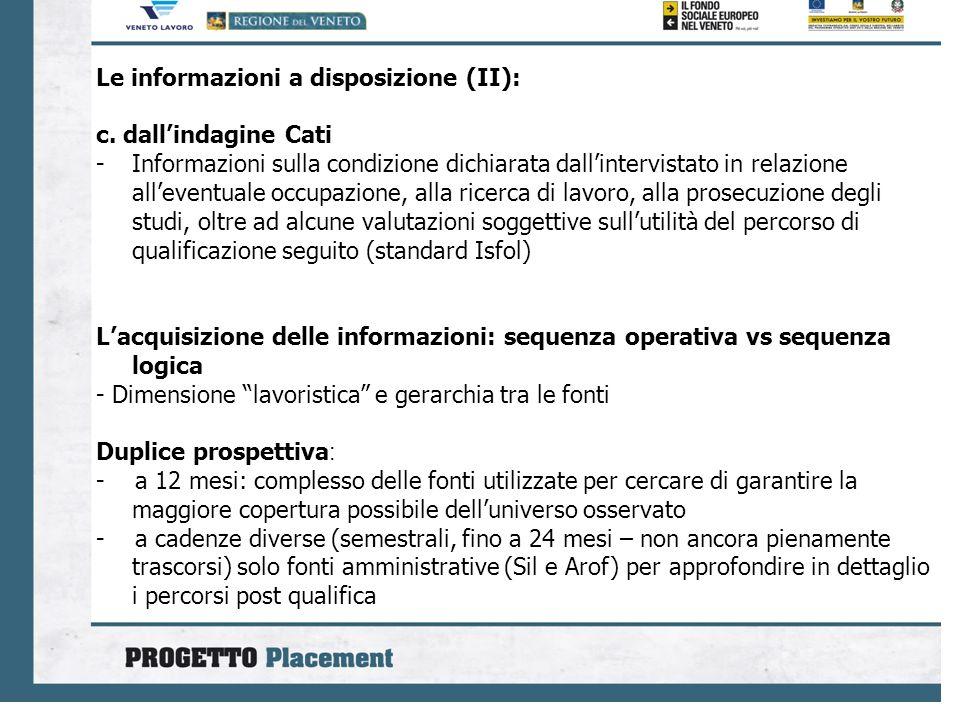 Le informazioni a disposizione (II): c. dallindagine Cati -Informazioni sulla condizione dichiarata dallintervistato in relazione alleventuale occupaz