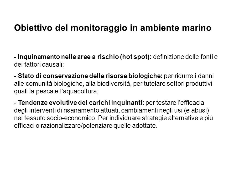 Obiettivo del monitoraggio in ambiente marino - Inquinamento nelle aree a rischio (hot spot): definizione delle fonti e dei fattori causali; - Stato d