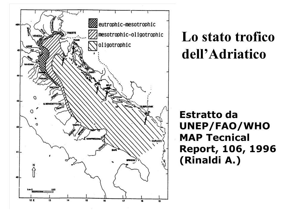 Lo stato trofico dellAdriatico Estratto da UNEP/FAO/WHO MAP Tecnical Report, 106, 1996 (Rinaldi A.)