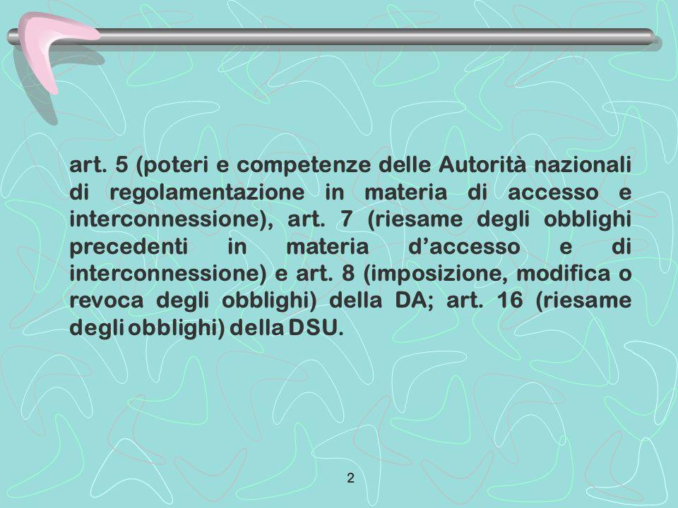 art. 5 (poteri e competenze delle Autorità nazionali di regolamentazione in materia di accesso e interconnessione), art. 7 (riesame degli obblighi pre