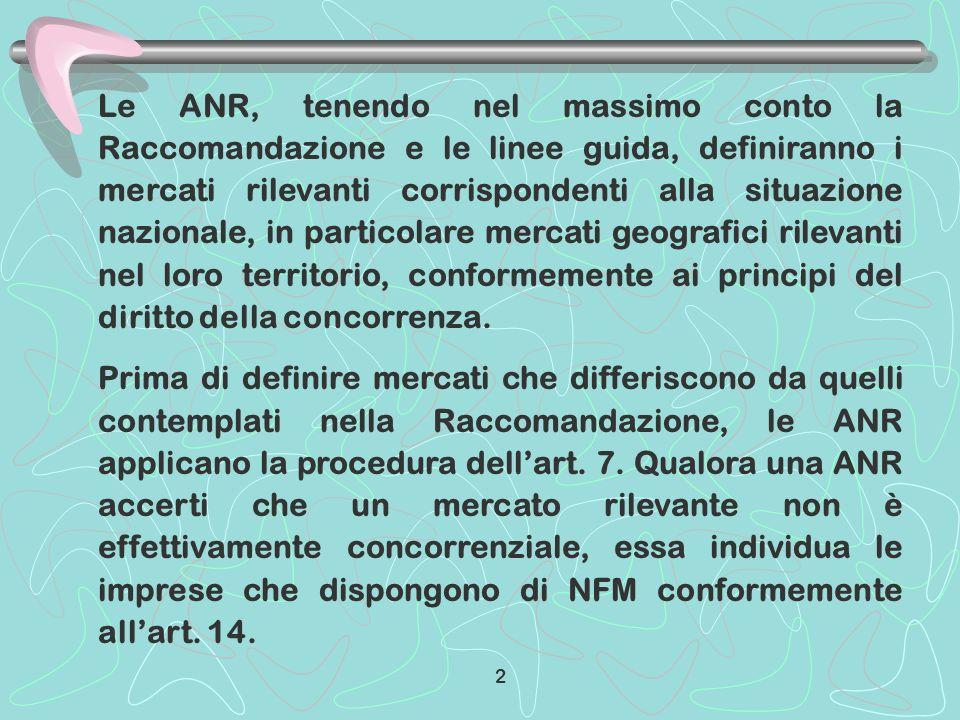 Le ANR, tenendo nel massimo conto la Raccomandazione e le linee guida, definiranno i mercati rilevanti corrispondenti alla situazione nazionale, in pa