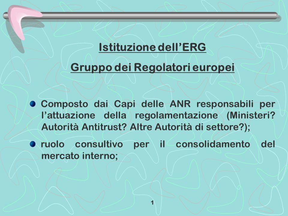 Istituzione dellERG Gruppo dei Regolatori europei Composto dai Capi delle ANR responsabili per lattuazione della regolamentazione (Ministeri? Autorità