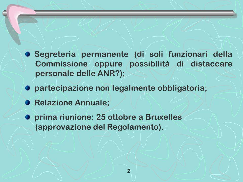 Segreteria permanente (di soli funzionari della Commissione oppure possibilità di distaccare personale delle ANR?); partecipazione non legalmente obbligatoria; Relazione Annuale; prima riunione: 25 ottobre a Bruxelles (approvazione del Regolamento).