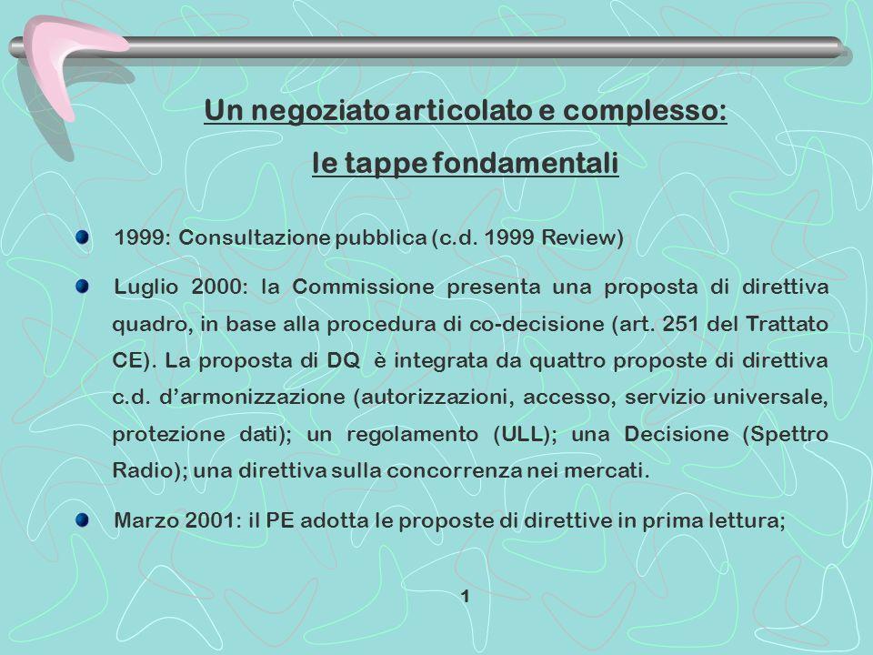 Un negoziato articolato e complesso: le tappe fondamentali 1999: Consultazione pubblica (c.d. 1999 Review) Luglio 2000: la Commissione presenta una pr