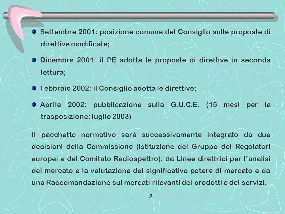 Settembre 2001: posizione comune del Consiglio sulle proposte di direttive modificate; Dicembre 2001: il PE adotta le proposte di direttive in seconda lettura; Febbraio 2002: il Consiglio adotta le direttive; Aprile 2002: pubblicazione sulla G.U.C.E.