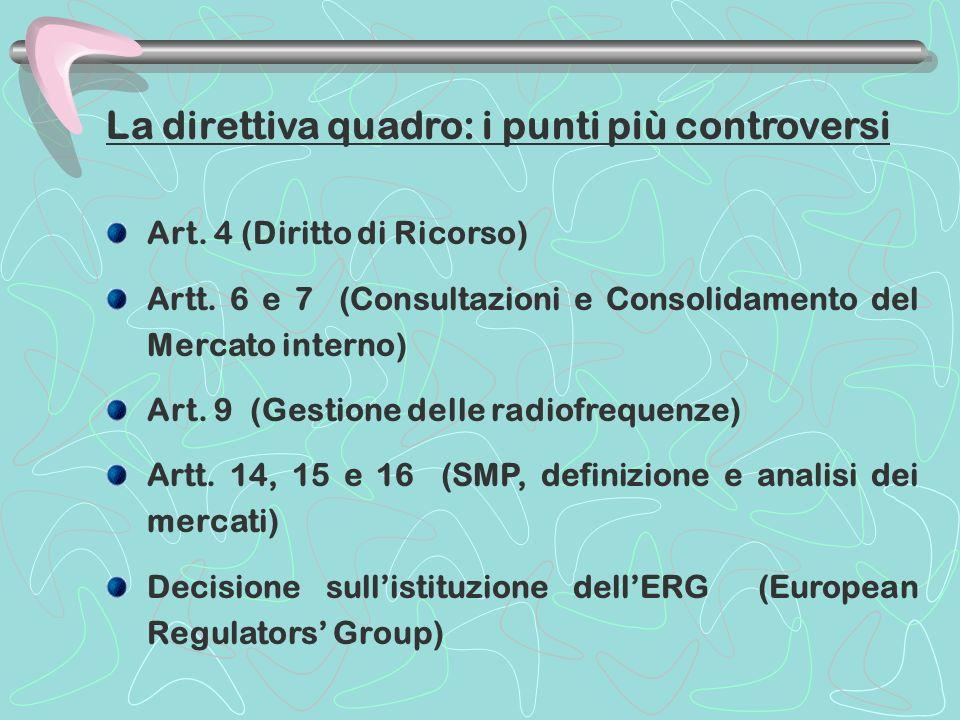 La direttiva quadro: i punti più controversi Art. 4 (Diritto di Ricorso) Artt. 6 e 7 (Consultazioni e Consolidamento del Mercato interno) Art. 9 (Gest