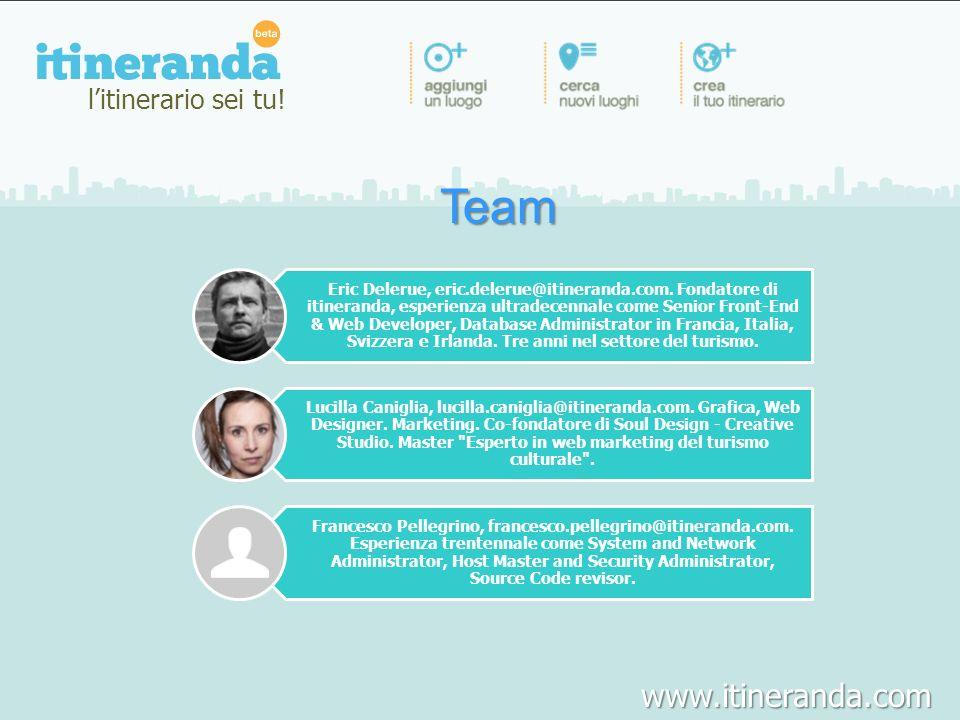 Team litinerario sei tu! Eric Delerue, eric.delerue@itineranda.com. Fondatore di itineranda, esperienza ultradecennale come Senior Front-End & Web Dev