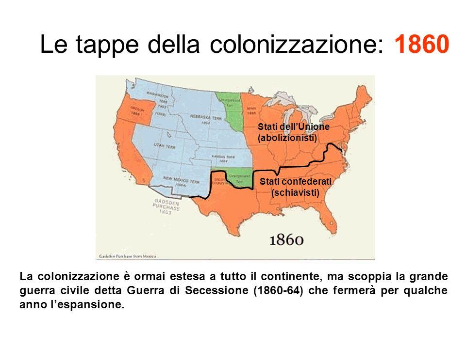 Le tappe della colonizzazione: 1860 La colonizzazione è ormai estesa a tutto il continente, ma scoppia la grande guerra civile detta Guerra di Secessione (1860-64) che fermerà per qualche anno lespansione.