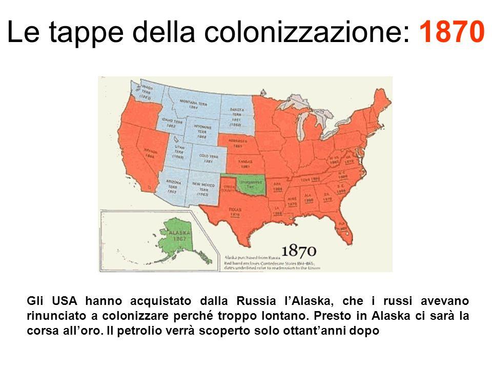 Le tappe della colonizzazione: 1870 Gli USA hanno acquistato dalla Russia lAlaska, che i russi avevano rinunciato a colonizzare perché troppo lontano.