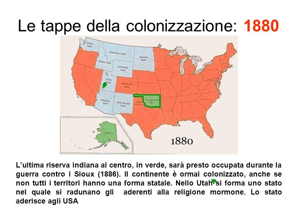 Le tappe della colonizzazione: 1880 Lultima riserva indiana al centro, in verde, sarà presto occupata durante la guerra contro i Sioux (1886).