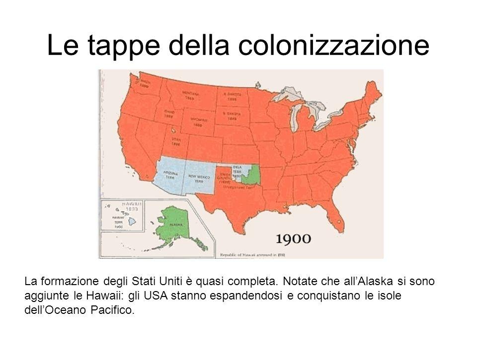 Le tappe della colonizzazione La formazione degli Stati Uniti è quasi completa.