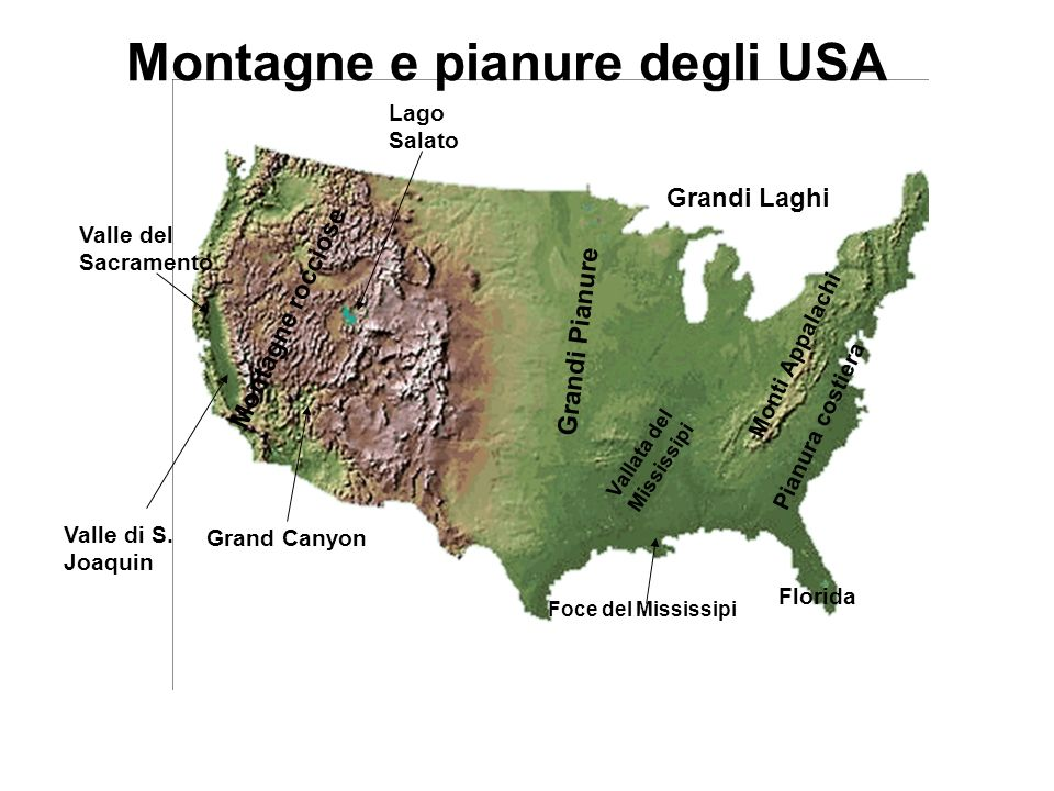Grandi Pianure Vallata del Mississipi Grand Canyon Lago Salato Montagne rocciose Pianura costiera Monti Appalachi Valle del Sacramento Valle di S.