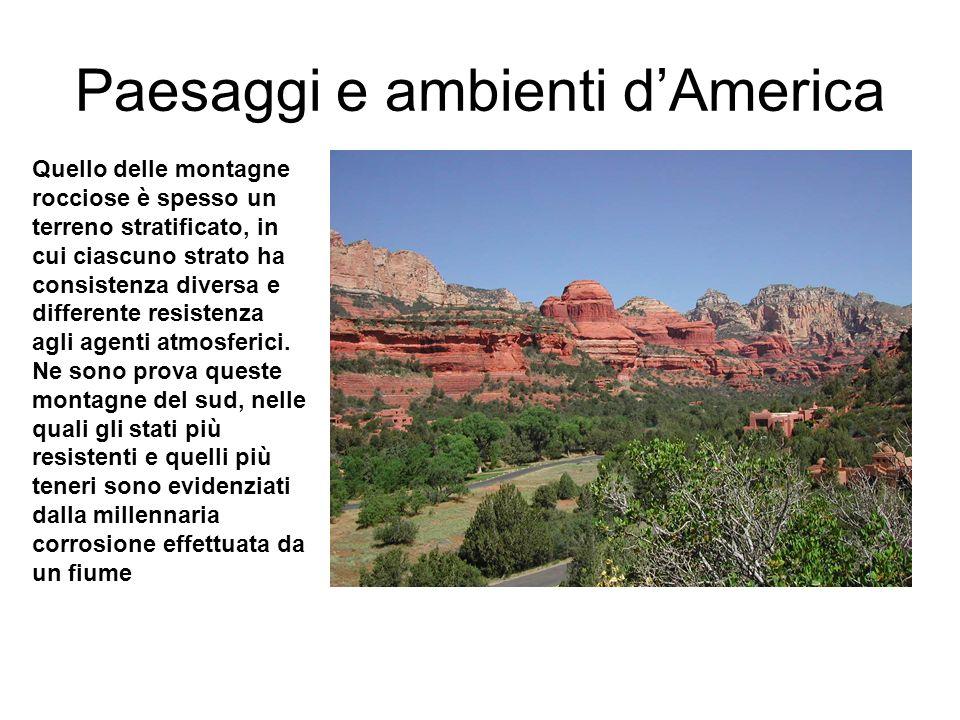 Paesaggi e ambienti dAmerica Quello delle montagne rocciose è spesso un terreno stratificato, in cui ciascuno strato ha consistenza diversa e differente resistenza agli agenti atmosferici.