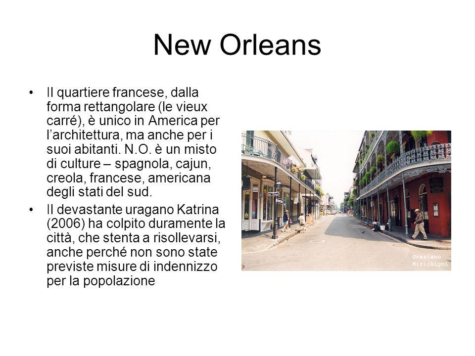 New Orleans Il quartiere francese, dalla forma rettangolare (le vieux carré), è unico in America per larchitettura, ma anche per i suoi abitanti.