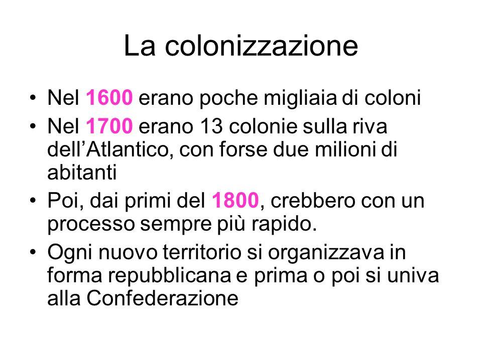 La colonizzazione Nel 1600 erano poche migliaia di coloni Nel 1700 erano 13 colonie sulla riva dellAtlantico, con forse due milioni di abitanti Poi, dai primi del 1800, crebbero con un processo sempre più rapido.