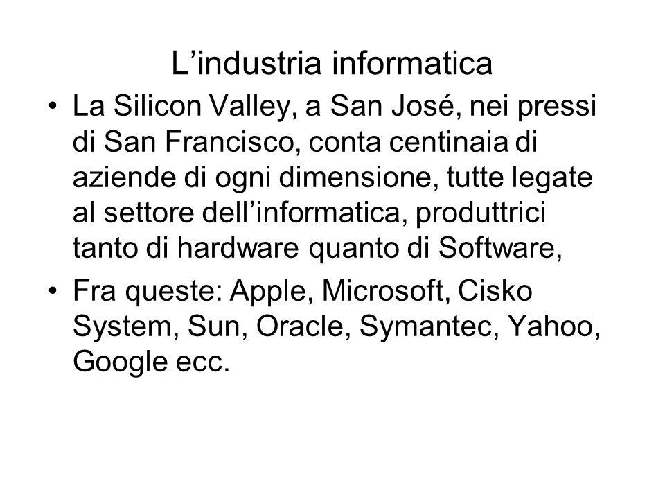 Lindustria informatica La Silicon Valley, a San José, nei pressi di San Francisco, conta centinaia di aziende di ogni dimensione, tutte legate al settore dellinformatica, produttrici tanto di hardware quanto di Software, Fra queste: Apple, Microsoft, Cisko System, Sun, Oracle, Symantec, Yahoo, Google ecc.