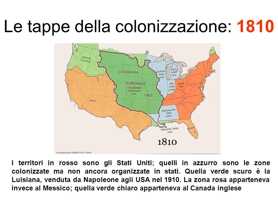 Le tappe della colonizzazione: 1810 I territori in rosso sono gli Stati Uniti; quelli in azzurro sono le zone colonizzate ma non ancora organizzate in stati.