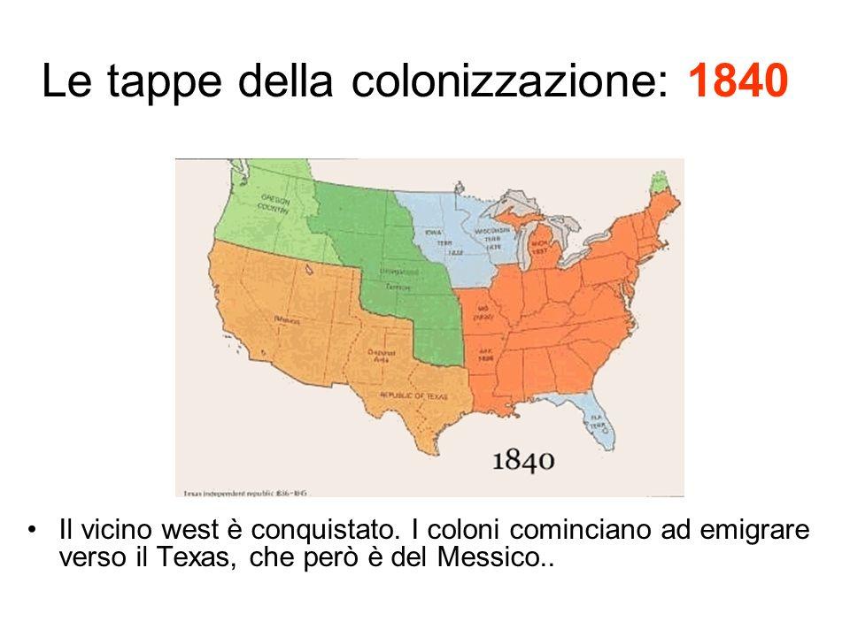Le tappe della colonizzazione: 1840 Il vicino west è conquistato.