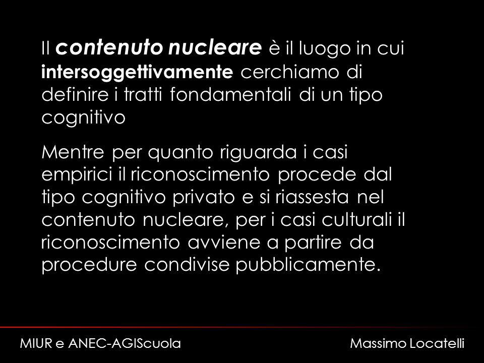Il contenuto nucleare è il luogo in cui intersoggettivamente cerchiamo di definire i tratti fondamentali di un tipo cognitivo Mentre per quanto riguar