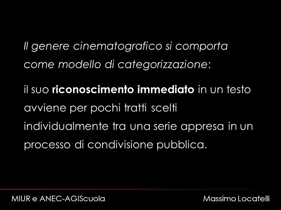 Il genere cinematografico si comporta come modello di categorizzazione: il suo riconoscimento immediato in un testo avviene per pochi tratti scelti individualmente tra una serie appresa in un processo di condivisione pubblica.