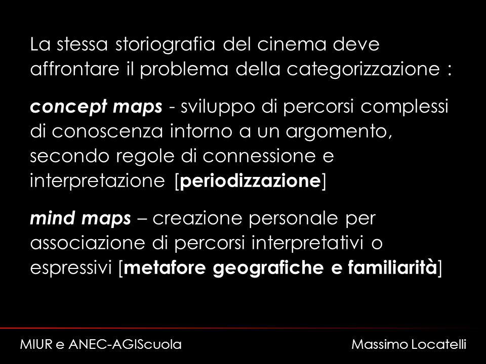 La stessa storiografia del cinema deve affrontare il problema della categorizzazione : concept maps - sviluppo di percorsi complessi di conoscenza int