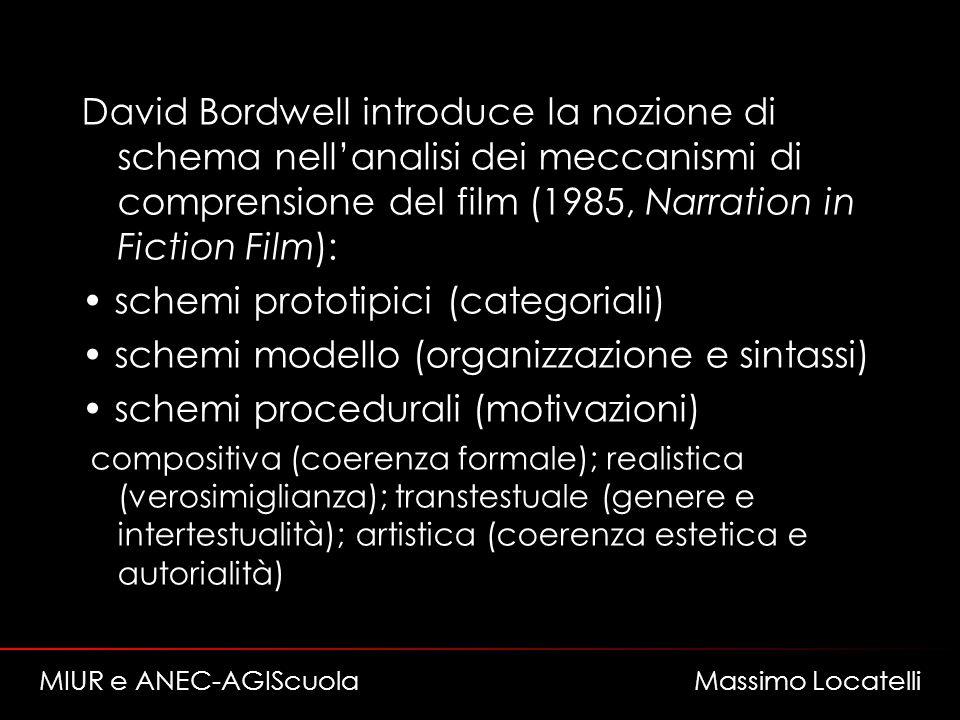 David Bordwell introduce la nozione di schema nellanalisi dei meccanismi di comprensione del film (1985, Narration in Fiction Film): schemi prototipici (categoriali) schemi modello (organizzazione e sintassi) schemi procedurali (motivazioni) compositiva (coerenza formale); realistica (verosimiglianza); transtestuale (genere e intertestualità); artistica (coerenza estetica e autorialità) MIUR e ANEC-AGIScuola Massimo Locatelli
