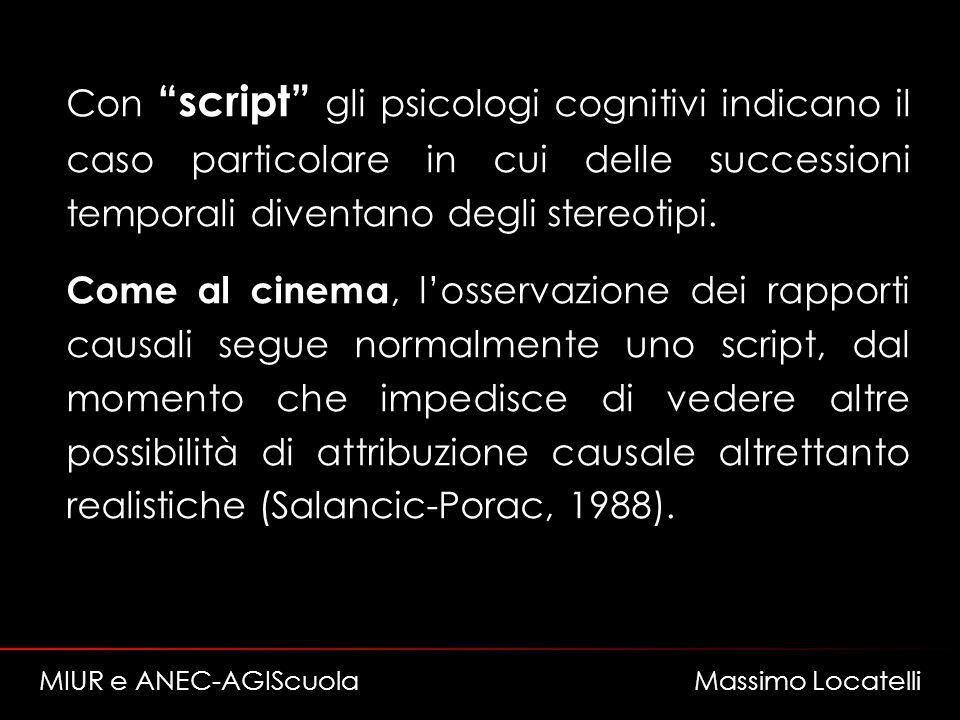 Con script gli psicologi cognitivi indicano il caso particolare in cui delle successioni temporali diventano degli stereotipi. Come al cinema, losserv