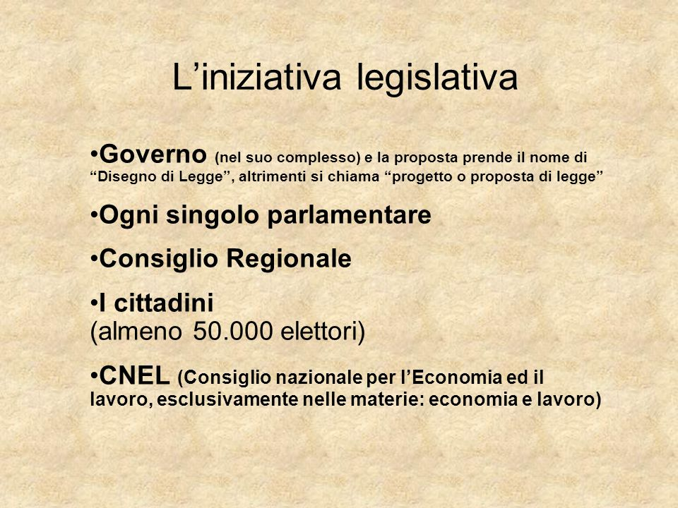 La proposta di legge Redatta in articoli, come ogni legge, deve essere trasmessa alla Presidenza di una delle due Camere