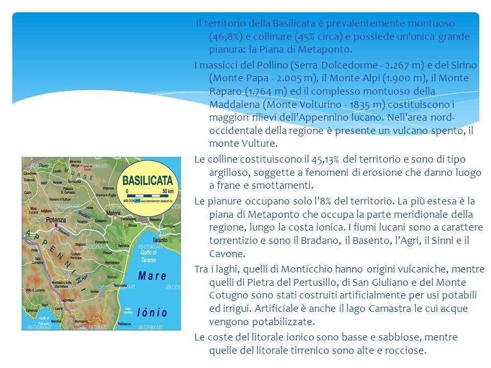Il territorio della Basilicata è prevalentemente montuoso (46,8%) e collinare (45% circa) e possiede un'unica grande pianura: la Piana di Metaponto. I