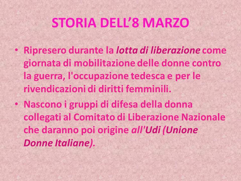 STORIA DELL8 MARZO Nel dicembre 1977 l Assemblea Generale delle Nazioni Unite ha adottato una risoluzione proclamando l 8 Marzo come Festa Internazionale della donna.